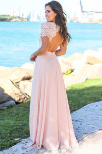 Blush Pink Open Back Lace Short Sleeve Prom Dresses Party Dresses PO310