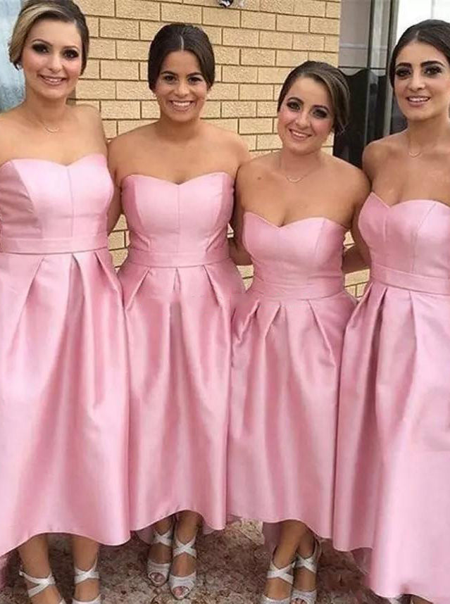 Sweetheart High Low Simple Pink Bridesmaid Dress with Pleats OB356