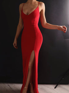 Spaghetti Straps Red Long Prom Dresses, Sexy Split Mermaid Evening Gown PO303