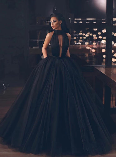 Halter Black Backless Prom Dresses With Pockets, Tulle Black Long Formal Gown PO115