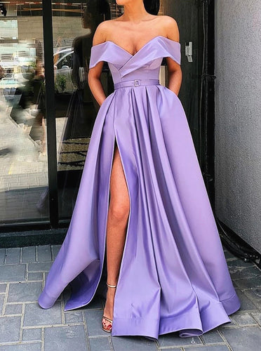 Off Shoulder Lilac Long Prom Dress with Split, Long Formal Evening Dresses PO113
