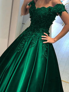 Off Shoulder Green Ball Gown Appliqued Prom Formal Dresses PO111