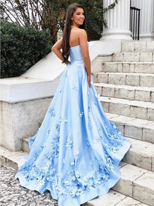 A Line 3D Flowers Sky Blue Strapless Long Prom Dresses with Pockets PO109