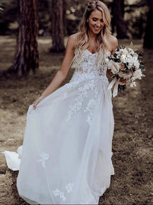 A-line Sweetheart Rustic Boho Wedding Dresses With Appliques OW632