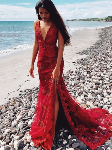 Burgundy Long Mermaid Prom Evening Dresses with Beaded Appliques PO226