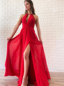 Simple A-line Red Chiffon Long Prom Dresses With Split PO168