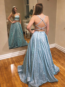 Glitter Mint Green A-Line Two Piece Sparkle Prom Dresses With Pockets PO331