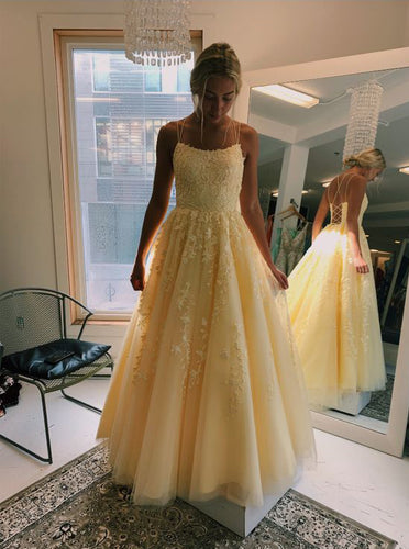 Daffodil V-Neck A-Line Tulle Long Prom Dresses With Appliques PO042