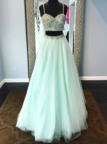 Spaghetti Straps Mint Green Two Pieces Prom Dress With Beading PO335