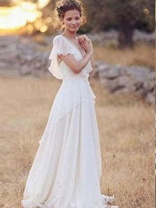 Flowy Flounce Sleeve Beach Wedding Dresses With Appliques OW587