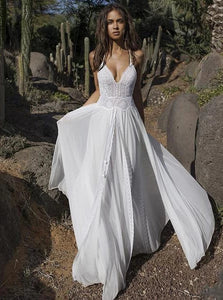 Boho V-neck Chiffon Long Wedding Dress, Beach Backless Two Pieces Maxi Dress OW644