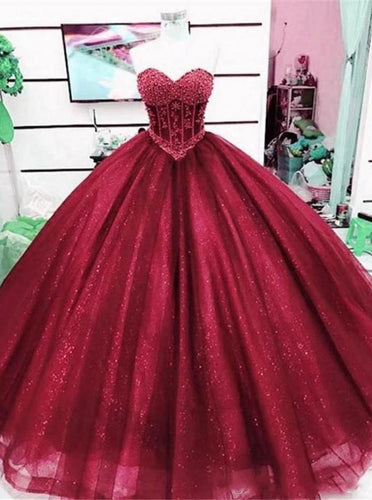 Tulle Burgundy Sparkle Sweetheart Prom Dress Ball Gown with Beaded Quinceanera Dress PO253