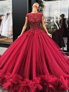 Burgundy Tulle Prom Dress Ball Gown Beaded Long Formal Evening Gown PO256