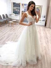 A-line V-neck Tulle Long Prom Wedding Dresses With Lace Appliques PO422