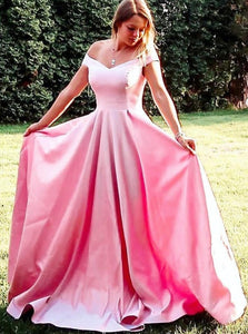 A-Line Off Shoulder Pink Long Prom Dress, Simple Long Graduation Gown PO386