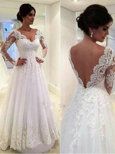Cheap Bridal Gowns With Long Sleeves, A-line Wedding Dress with Lace Applique OW670