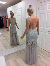 Grey Backless Prom Dresses Lace Appliques Mermaid Evening Dresses PO333