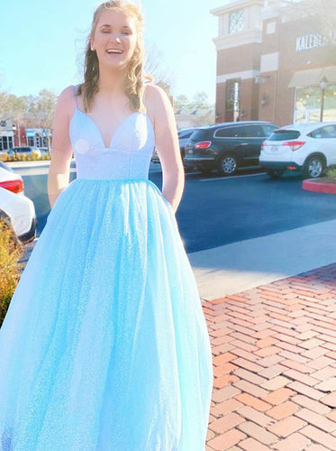Sparkly Blue Long Prom Dresses, V-neck Graduation Dress With Pockets PO427