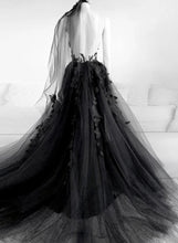 Tulle Round Black Long Prom Dresses, Appliqued Backless Evening Dress PO091