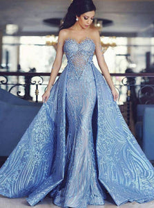 Detachable Train Mermaid Formal Evening Dresses Blue Appliques Prom Gowns PO044