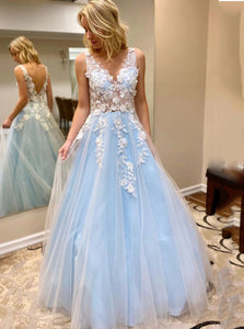 Light Sky Blue Long Prom Dresses, Tulle V-neck Graduation Dresses With Lace Appliques PO423