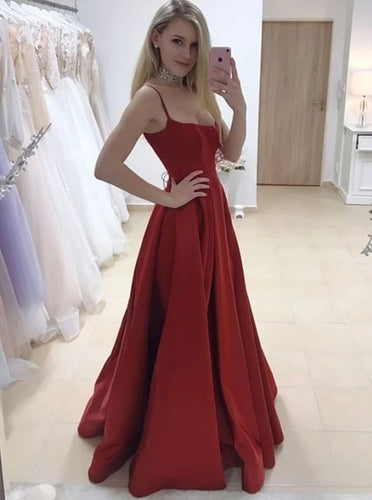 A-line Burgundy Long Prom Dresses, Satin Evening Dress With Split PO420