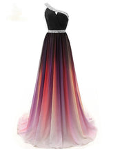 One Shoulder Chiffon Ombre Prom Dresses Beaded Gradient Formal Party Gowns PO120