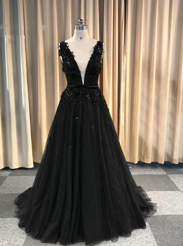 Black V-neck Long Prom Dresses, A-line Formal Gown With Lace Appliques PO179