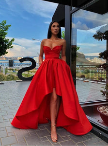 Sweetheart Red Satin Hi-lo Prom Gown Dress with Pockets PO224