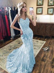 Spaghetti Mermaid Lace Prom Dresses, Sky Blue Lace Formal Evening Dresses PO413