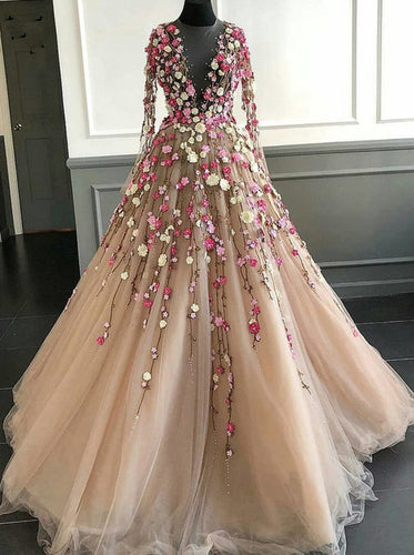 Pretty Illusion Long Sleeves 3D Flower Tulle Prom Gowns Formal Dress PO301