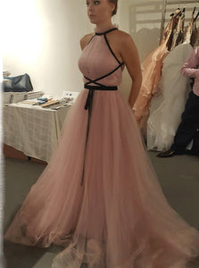 A-line Halter Tulle Long Prom Evening Dress With Black Ribbon PO088