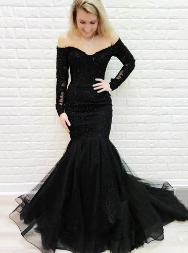 Mermaid Off-the-shoulder Lace Long Sleeves Black Prom Evening Dresses PO189