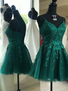 A-line V-neck Emerald Green Homecoming Dress, Backless Short Prom Dresses OM559
