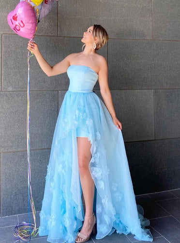 Strapless Long Prom Dresses Ice Blue Handmade Flowers Tulle Evening Dress PO417