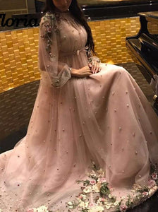 Elegant Pearl Pink Long Sleeves Prom Dresses With Appliques Beaded PO262