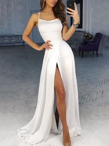 A-Line Spaghetti Straps Ivory Long Prom Dress with Split PO206