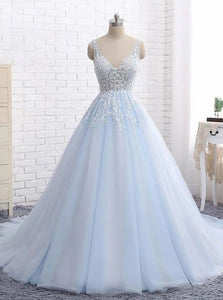 Ball Gown V Neck Appliques Light Sky Blue Backless Prom Dress PO182