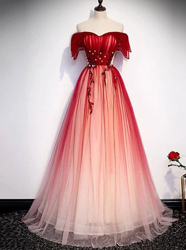 Princess Off-Shoulder Tulle Red Long Prom Dresses Lace Up Party Gown PO178