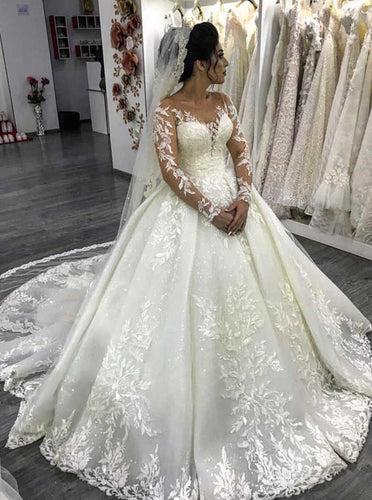 Luxury Lace Long Sleeves Ball Gown Wedding Dresses With Beaded Appliques OW648
