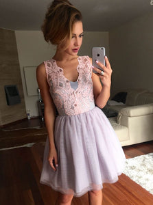 A-Line V-Neck Lavender Tulle Short/Mini Prom Dress with Pink Lace, OC111