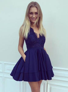 Navy Blue Satin A-Line V-Neck Short/Mini Lace Prom Dress with Pockets, OC113