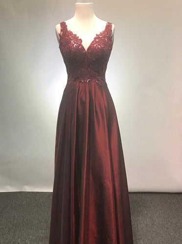 A-line V-neck Long Burgundy Prom Dresses With Appliques PO116