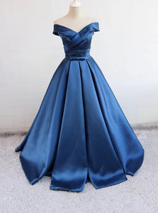 Off Shoulder Satin Blue Long Prom Dresses, Long Evening Dress PO095