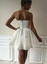 A-Line Sweetheart Ruched Tulle Little White Dress, Graduation Dress OC115