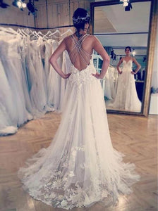 A Line Spaghetti Straps Lace Appliques Backless Wedding Dresses OW646