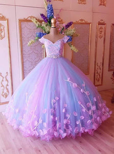 Princess Quinceanera Dress Puffy Tulle Lace Ball Gown Prom Dresses With Appliques PO117