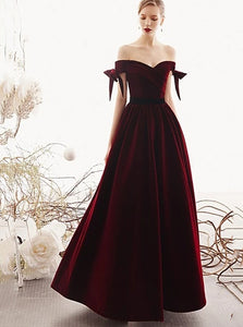 Elegant Off The Shoulder A-line Burgundy Velvet Long Prom Evening Dresses PO180
