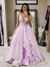 Tulle Sparkly Long Prom Dress, Spaghetti Long Party Dress PO377