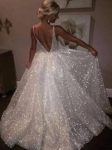 Sparkly Wedding Dresses Sequins V Neck Backless Bridal Gown OW470